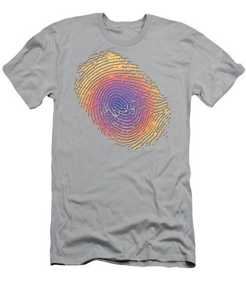 Giant Iridescent Fingerprint On Clay Beige Set Of 4 - 4 Of 4 Men's T-Shirt (Athletic Fit)