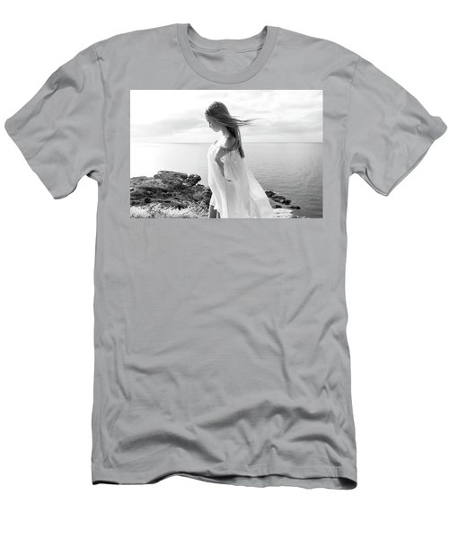Girl In A White Dress By The Sea Men's T-Shirt (Athletic Fit)