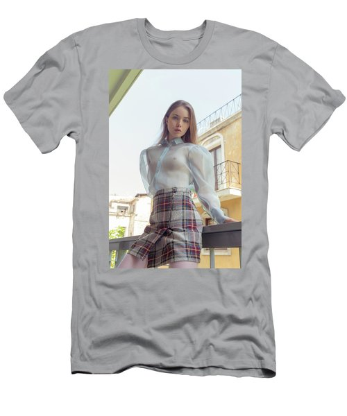 Men's T-Shirt (Athletic Fit) featuring the photograph Girl In Transparent Blue Shirt And Tartan Skirt by Michael Maximillian Hermansen