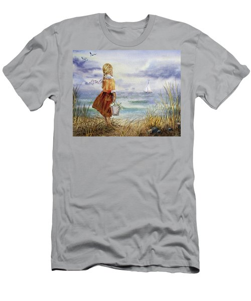 Men's T-Shirt (Athletic Fit) featuring the painting Girl Ocean Shore Birds And Seashell by Irina Sztukowski