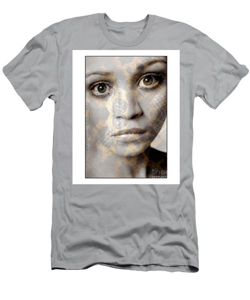 Girls Face With Snake Skin Texture Men's T-Shirt (Athletic Fit)
