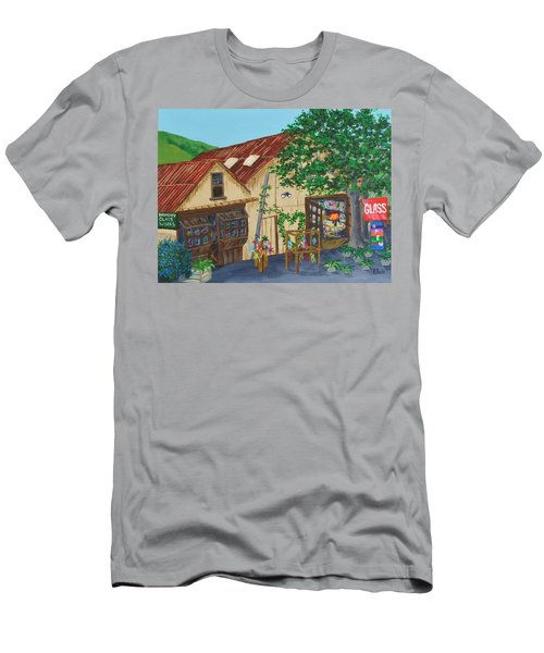 Men's T-Shirt (Slim Fit) featuring the painting Glass Blower Shop Harmony California by Katherine Young-Beck
