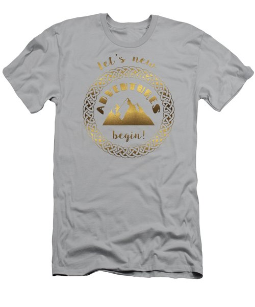 Gold Let's New Adventures Begin Typography Men's T-Shirt (Athletic Fit)