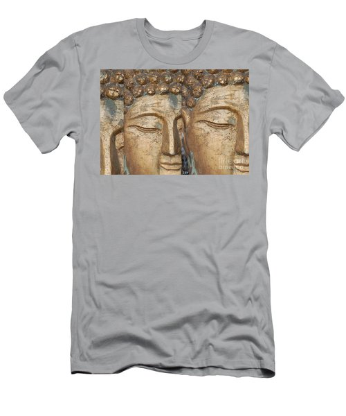 Golden Faces Of Buddha Men's T-Shirt (Slim Fit) by Linda Prewer