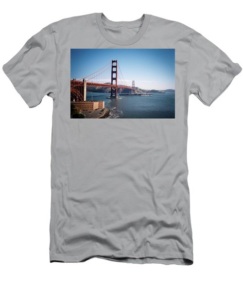 Golden Gate Bridge With Aircraft Carrier Men's T-Shirt (Athletic Fit)