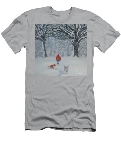 Golden Retriever Winter Walk Men's T-Shirt (Athletic Fit)