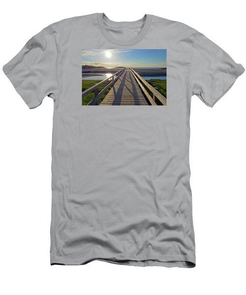 Good Harbor Beach Footbridge Sunny Shadow Men's T-Shirt (Athletic Fit)