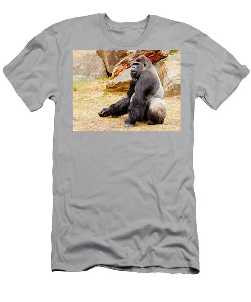 Gorilla Sitting Upright Men's T-Shirt (Athletic Fit)