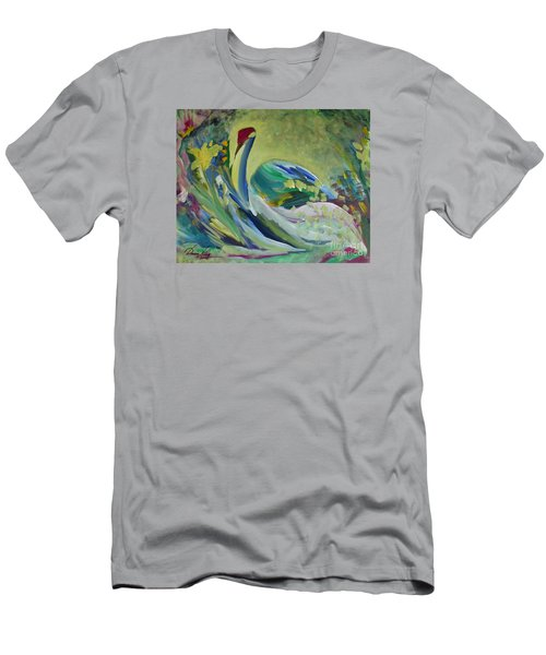 Graceful Swan Men's T-Shirt (Slim Fit) by Denise Hoag