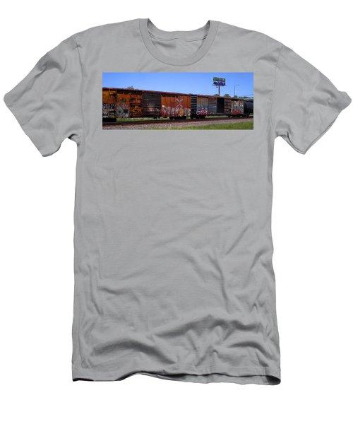 Graffiti Train With Billboard Men's T-Shirt (Athletic Fit)
