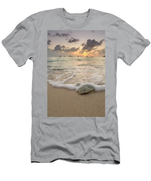 Men's T-Shirt (Athletic Fit) featuring the photograph Grand Cayman Beach Coral Waves At Sunset by Adam Romanowicz