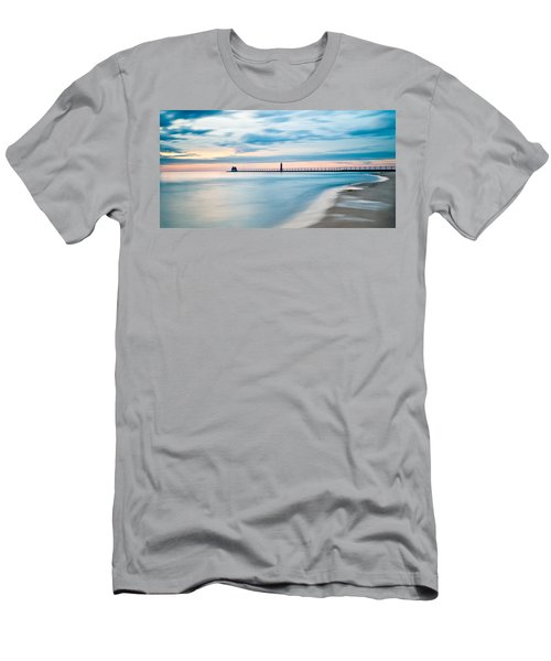 Grand Haven Pier - Smooth Waters Men's T-Shirt (Slim Fit) by Larry Carr