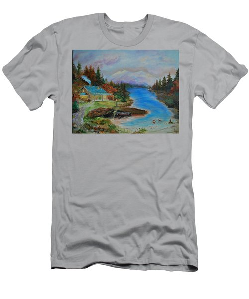 Men's T-Shirt (Slim Fit) featuring the painting Grandmas Cabin by Leslie Allen