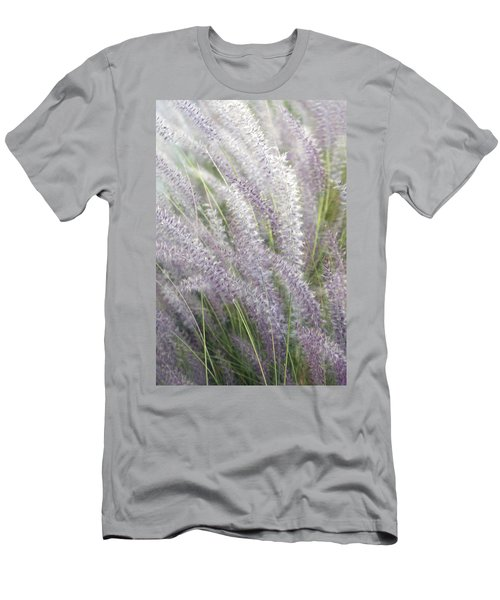 Men's T-Shirt (Slim Fit) featuring the photograph Grass Is More - Nature In Purple And Green by Ben and Raisa Gertsberg