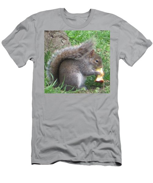 Gray Squirrel With An Apple Core Men's T-Shirt (Athletic Fit)