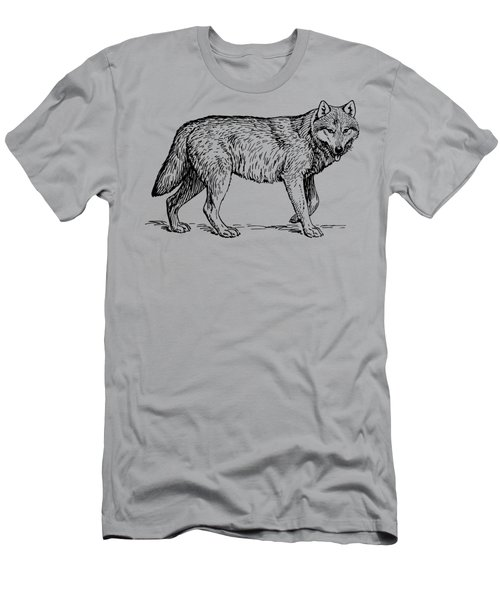 Gray Wolf Timber Wolf Western Wolf Woods Texture Men's T-Shirt (Athletic Fit)