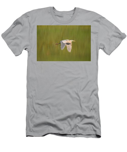 Men's T-Shirt (Athletic Fit) featuring the photograph Geat Blue Heron Burgess Res Divide Co by Margarethe Binkley