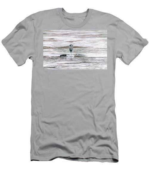 Great Blue Heron On A Frozen Lake Men's T-Shirt (Athletic Fit)