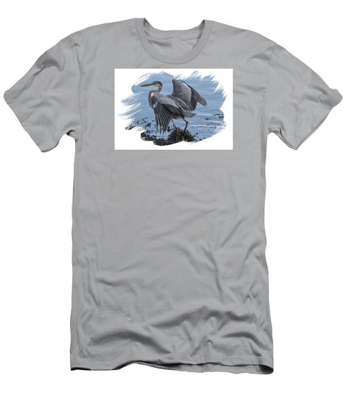 Great Blue Heron On Cape Cod Canal 2 Men's T-Shirt (Slim Fit) by Constantine Gregory