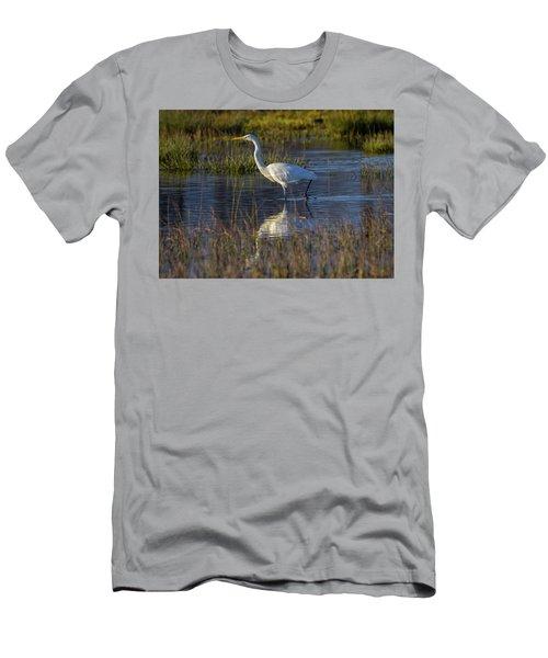 Great Egret, Ardea Alba, In A Pond Men's T-Shirt (Slim Fit) by Elenarts - Elena Duvernay photo