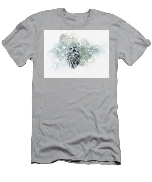 Great Grey Owl In Snowstorm Men's T-Shirt (Athletic Fit)