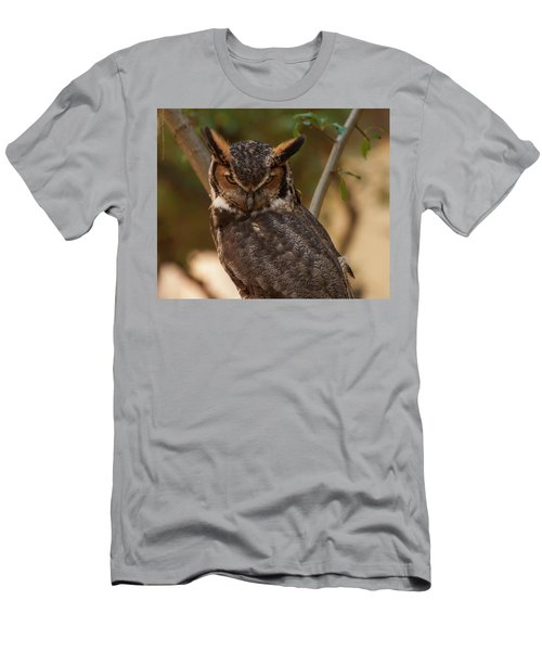 Men's T-Shirt (Slim Fit) featuring the photograph Great Horned Owl In A Tree 2 by Chris Flees