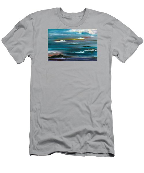 Men's T-Shirt (Slim Fit) featuring the painting Great Salt Lake by Jane Autry