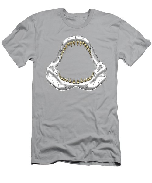 Great White Shark - Silver Jaws With Gold Teeth On White Canvas Men's T-Shirt (Slim Fit) by Serge Averbukh