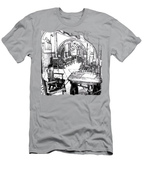 Men's T-Shirt (Slim Fit) featuring the drawing Green Dragon Inn's Writing Nook T-shirt by Kathy Kelly