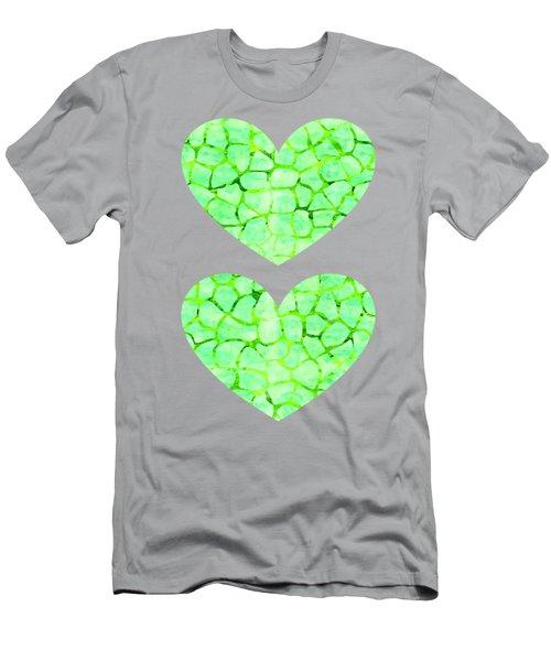 Green Giraffe Print Men's T-Shirt (Athletic Fit)