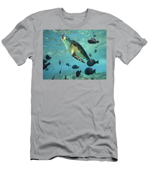 Men's T-Shirt (Athletic Fit) featuring the photograph Green Sea Turtle Balicasag Island by Tim Fitzharris
