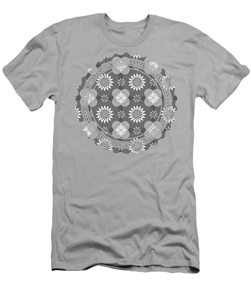 Men's T-Shirt (Athletic Fit) featuring the digital art Grey Circles And Flowers Pattern by Becky Herrera