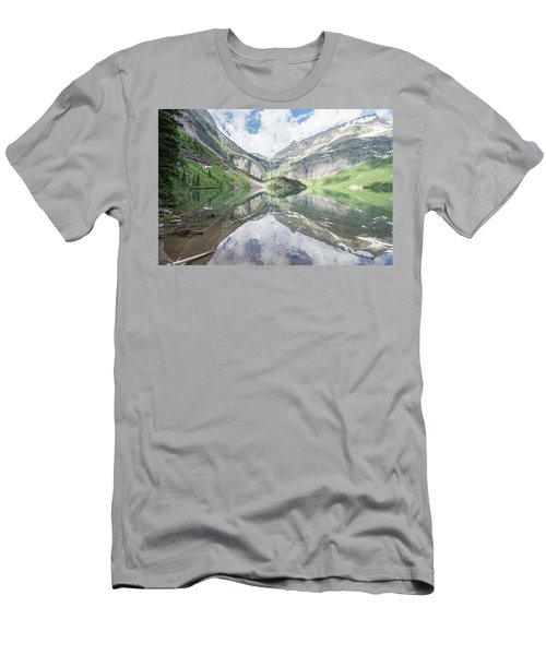 Grinnell Lake Mirrored Men's T-Shirt (Slim Fit) by Alpha Wanderlust