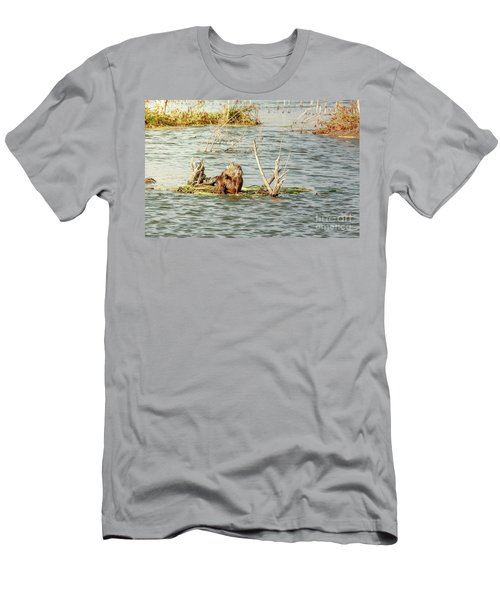 Men's T-Shirt (Slim Fit) featuring the photograph Grinning Nutria On Reeds by Robert Frederick