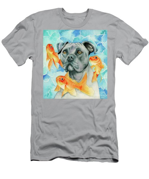 Guardian - Pit Bull Dog And Goldfishes Watercolor Painting Men's T-Shirt (Athletic Fit)