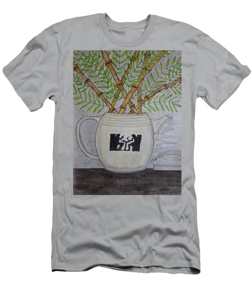 Men's T-Shirt (Slim Fit) featuring the painting Hall China Silhouette Pitcher With Bamboo by Kathy Marrs Chandler