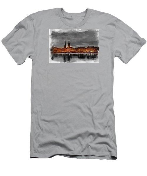 Hamburg Germany Skyline 01 Men's T-Shirt (Athletic Fit)