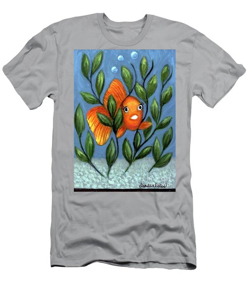 Men's T-Shirt (Slim Fit) featuring the painting Happy Goldfish by Sandra Estes