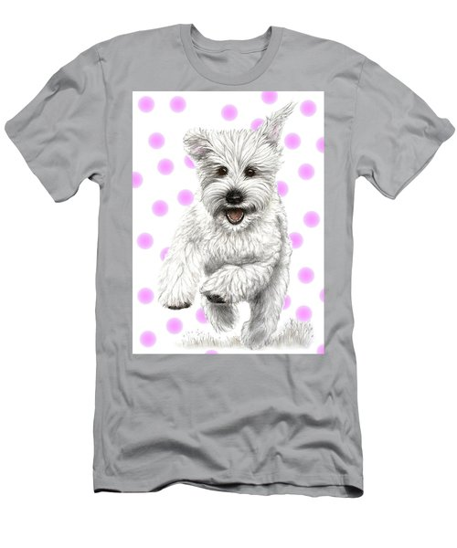 Men's T-Shirt (Slim Fit) featuring the drawing Happy Pink Polka Dots Doggy  by Heidi Kriel