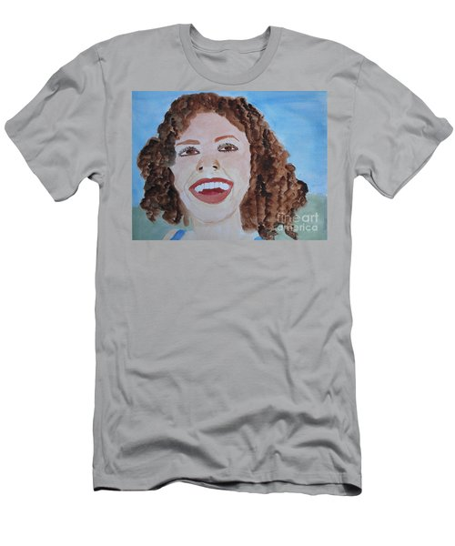 Men's T-Shirt (Slim Fit) featuring the painting Happy by Sandy McIntire