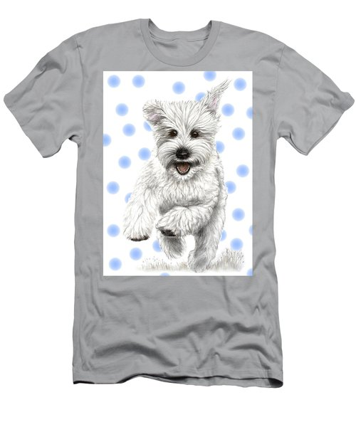 Men's T-Shirt (Slim Fit) featuring the drawing Happy Blue Polka Dots Doggy by Heidi Kriel