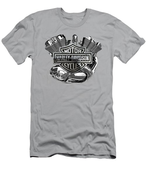 Men's T-Shirt (Slim Fit) featuring the digital art Harley-davidson Motorcycle Engine Detail With 3d Badge  by Serge Averbukh