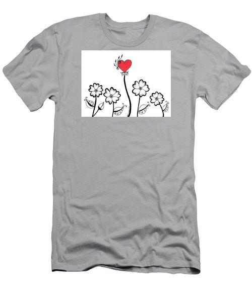 Heart Flower Men's T-Shirt (Athletic Fit)