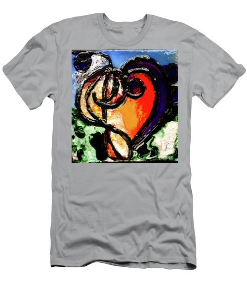 Men's T-Shirt (Slim Fit) featuring the painting Heart Robin Treble by Genevieve Esson
