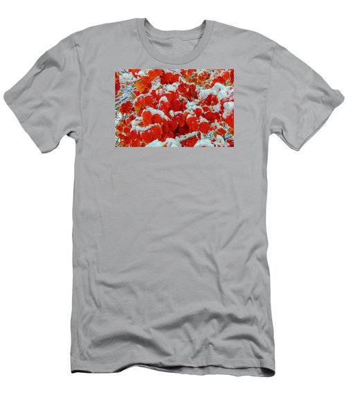 Heart Shape Leaves Covered By Snow Men's T-Shirt (Athletic Fit)