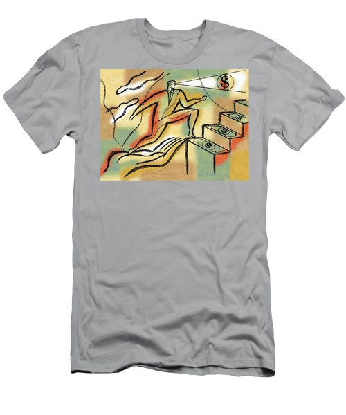 Men's T-Shirt (Slim Fit) featuring the painting Helping Hand And Money by Leon Zernitsky