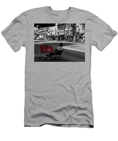 Men's T-Shirt (Athletic Fit) featuring the photograph Her Red Cart by Lorraine Devon Wilke