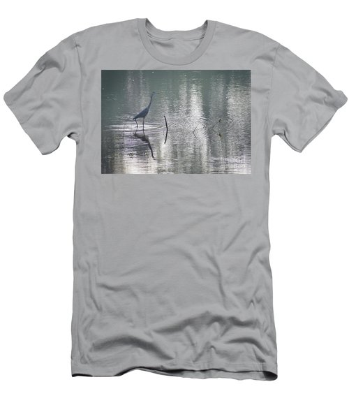 Men's T-Shirt (Slim Fit) featuring the photograph Heron In Pastel Waters by Skip Willits