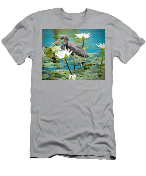 Heron With Water Lillies Men's T-Shirt (Athletic Fit)
