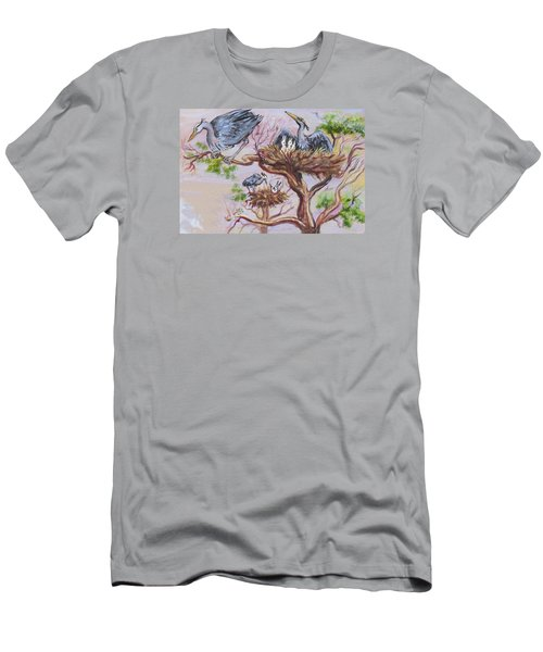 Men's T-Shirt (Slim Fit) featuring the painting Herons At Nests by Dawn Senior-Trask